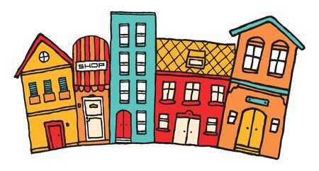 Small cartoon town  Cute colorful neighborhood