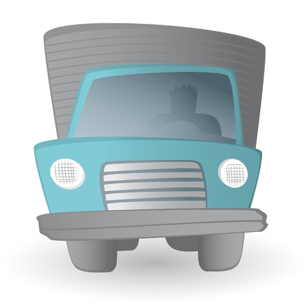 flatbed truck: Cartoon truck driver  Land transportation vehicle
