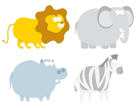 Wild animals  lion, hippo, zebra and elephant Stock Vector - 19177395