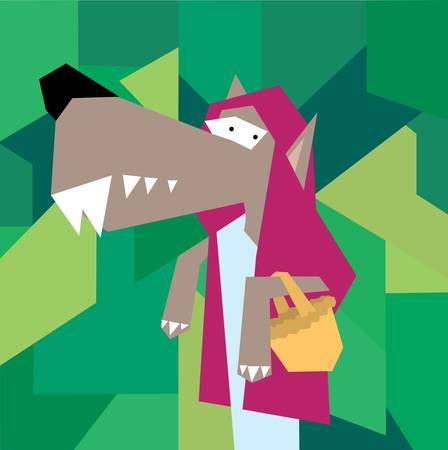 childishness: Wolf as Little Red Cap Illustration