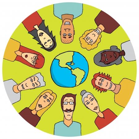 multi ethnic group: People around the world united Illustration