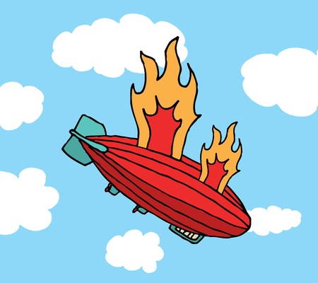 Zeppelin on fire falling / Big failure Stock Vector - 19178461