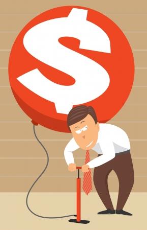 Inflating money / Higher rates Stock Illustratie