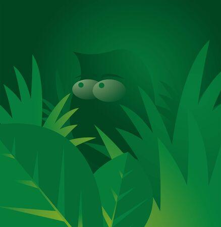 Man in green jungle Stock Vector - 19177457