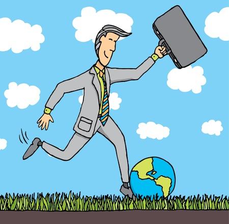 Businessman kicks the planet Stock Vector - 19178693