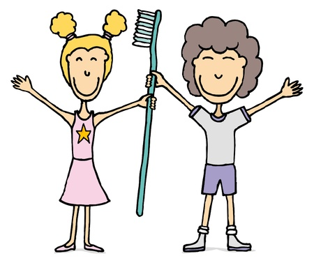 Kids with huge tooth brush / Dental hygiene Stock Vector - 19177631