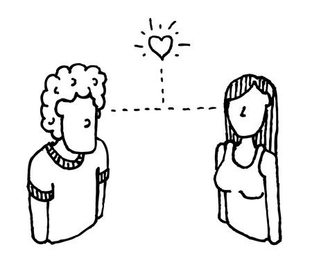 the first love: Amor a primera vista el hombre y la mujer Vectores
