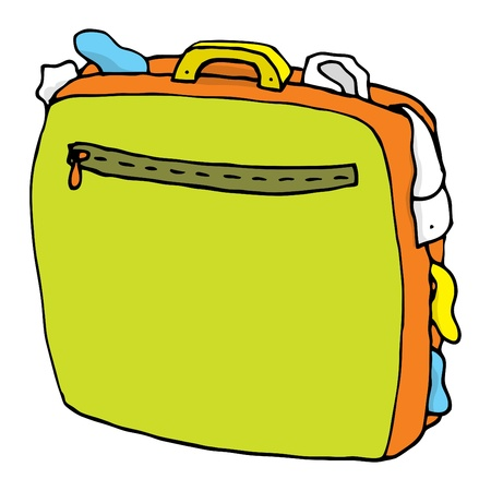 overflowing: Cartoon suitcase full   Overweight luggage Illustration
