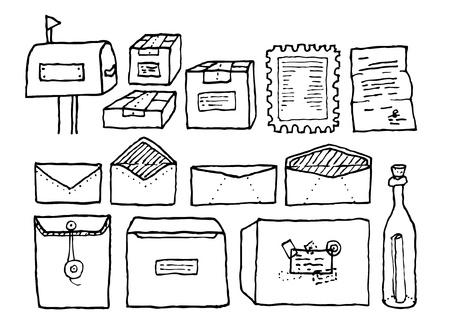 padded: Correspondence mail objects set Illustration