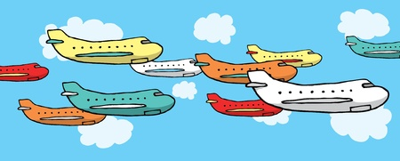 Many planes flying together Stock Vector - 19178488