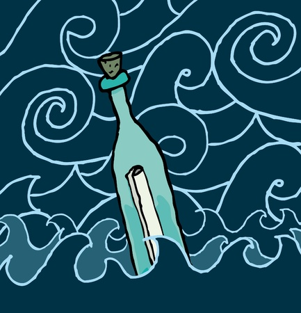 drifting: Message in a bottle drifting the night sea Illustration