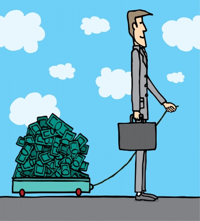 Businessman carrying money Stock Vector - 19178365