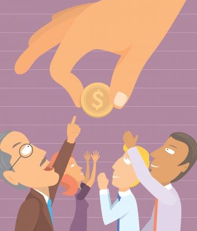 sehnsucht: Menschen Sehnsucht nach Geld Illustration