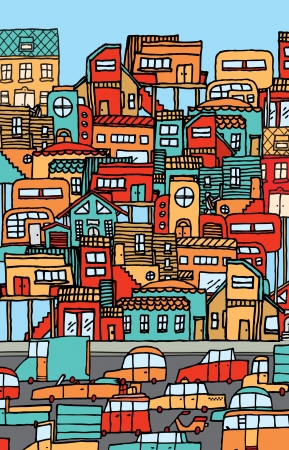 housing problems: Overpopulation  Crowded city full of cars and houses. Illustration