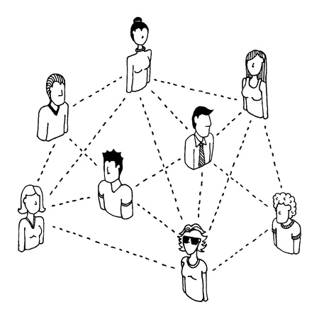 global village: Social network connecting  People relations 2 Illustration