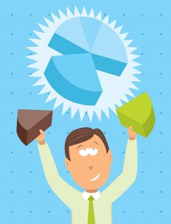sales executive: Empresario de trabajo en un gr�fico circular