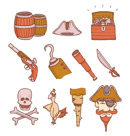 poisonous organism: Cartoon pirate objects set