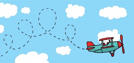 airplane mode: Playful cartoon airplane flying Illustration