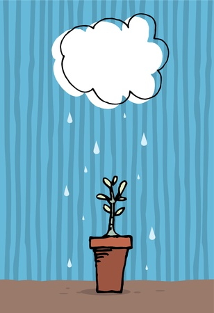 Plant growing in the rain   Growth Stock Vector - 19177541