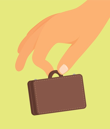 small business: Small business  Hand holding tiny suitcase Illustration