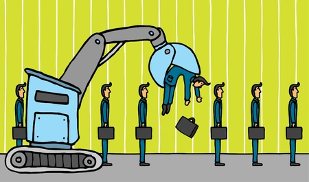 downsizing: Crane removing businessman   Layoff Illustration