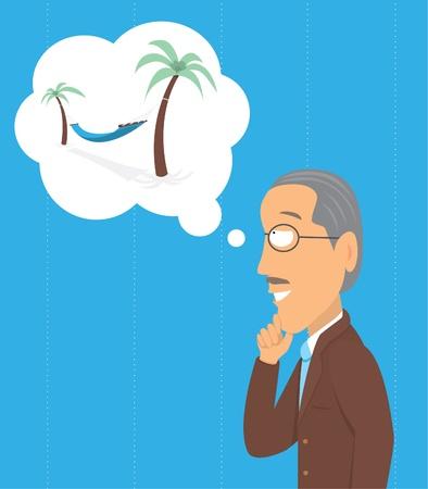 Senior thinking of retirement Illustration