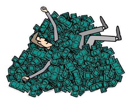 millonario: Feliz millonario Piscina negocios en dinero Vectores