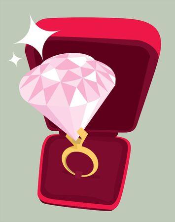 ring ruby: Huge engagement ring diamond Illustration