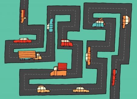 roadtrip: Cars on funny road Illustration