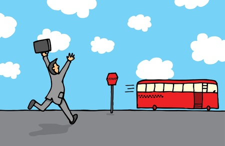 Businessman chasing a bus Vector