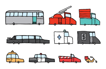 cartoon fire: Service vehicle set Illustration