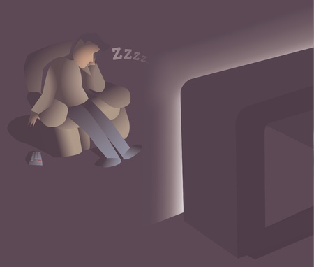 couch potato: Couch potato sleeping in front of tv Illustration