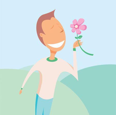 smelling: Sensible man smelling flower
