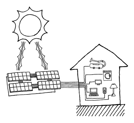 Solar power graphic   Cheap energy working diagram Stock Vector - 19178241