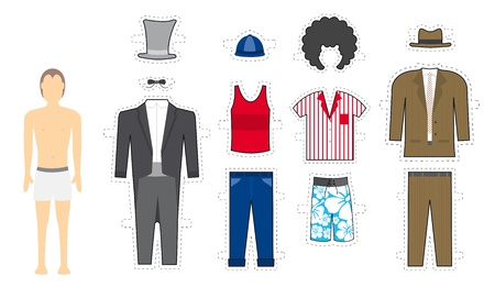 button down shirt: Male Makeover   Exchangeable looks - Costume Illustration
