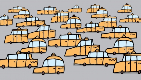 Big group of cartoon taxis traffic jam Stock Vector - 19178038
