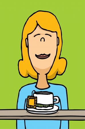 smelling: Woman smelling tea