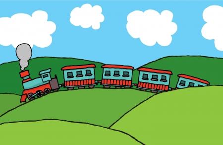 Train cruising through hills Stock Vector - 19178202