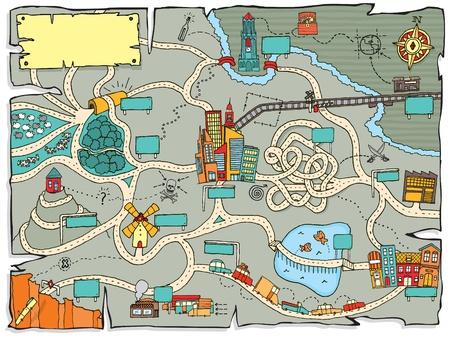 mapa del tesoro: Divertido mapa del tesoro Vectores