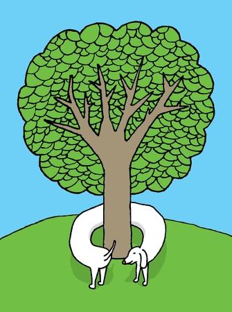 Tree hugging dog Stock Vector - 19178353