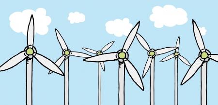 Wind cheap energy / Turbine ecology field Stock Vector - 19177605