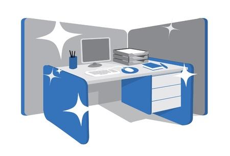 청소 사무실 책상  워크 스테이션 일러스트
