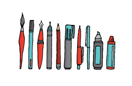 Writing instruments cartoon set Vector