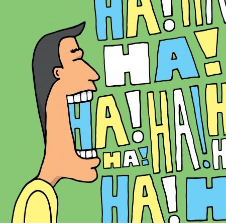 Hombre que ríe en muchos colores