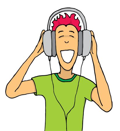 Guy listening music on huge headphones Illustration
