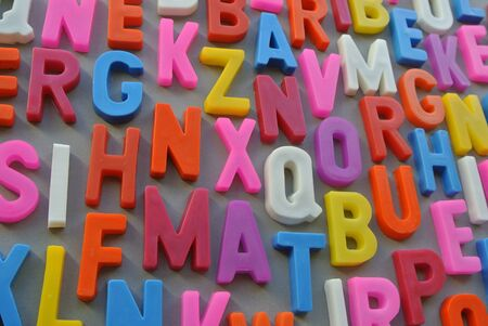 encoded: Scrambled letters together in a colorful background