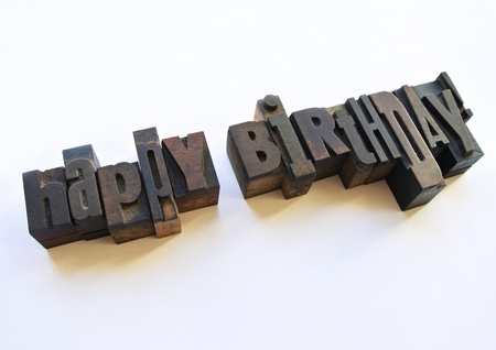 Happy birthday message with wood typography