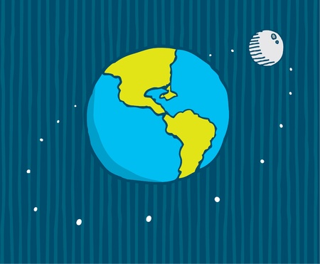 Cartoon illustration of moon orbiting the earth illustration