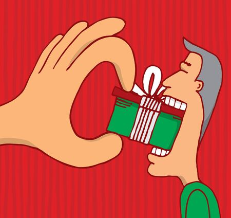 consumerism: Big cartoon hand forcing man to consume  Stock Photo