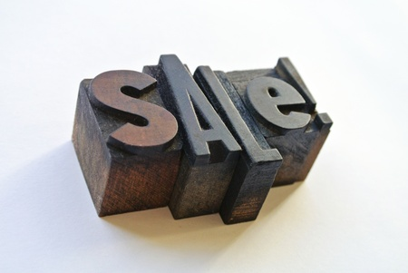 woodtype: Wooden typography forming sale word